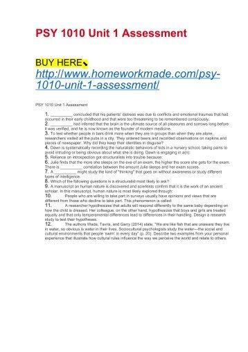 PSY 1010 Unit 1 Assessment