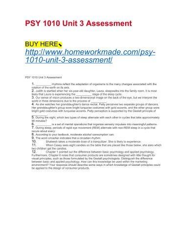 PSY 1010 Unit 3 Assessment