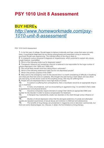 PSY 1010 Unit 8 Assessment