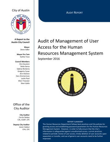 Audit of Management of User Access for the Human Resources Management System