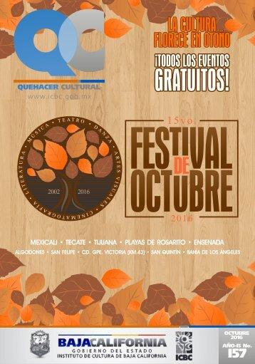 Quehacer Cultural de Octubre 2016