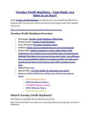 Turnkey Profit Machines review- Turnkey Profit Machines $27,300 bonus & discount