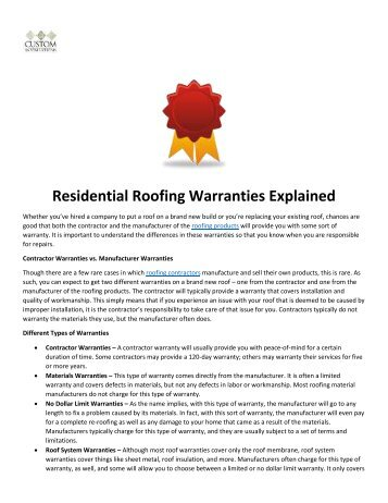 Residential Roofing Warranties Explained