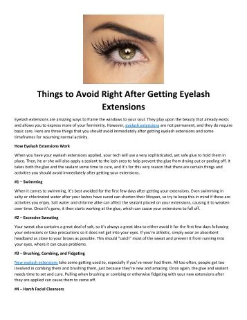 Things to Avoid Right After Getting Eyelash Extensions