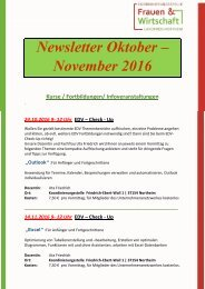 Newsletter Oktober und November 2016