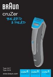 Braun cruZer6, BT 5070, BT 5090, BT 7050 - cruZer6 beard&head,  cruZer5 beard&head,  cruZer5 beard Manual (DE, UK, FR, ES, PT, IT, NL, DK, NO, SE, FI, TR, GR)