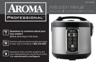 Aroma Professional 20-Cup (Cooked) Digital Cool-Touch Rice Cooker, Food Steamer and Slow CookerARC-2000ASB (ARC-2000ASB) - ARC-2000ASB Instruction Manual - Professional 20-Cup (Cooked) Digital Cool-Touch Rice Cooker, Food Steamer and Slow Cooker