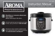 Aroma Aroma 16-Cup (Cooked) Rice Cooker, Slow Cooker and Food SteamerARC-1308SB (ARC-1308SB) - ARC-1308SB Instruction Manual - Aroma 16-Cup (Cooked) Rice Cooker, Slow Cooker and Food Steamer