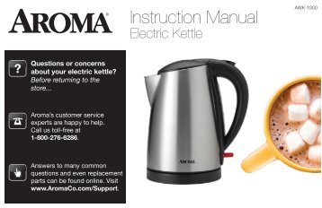 Aroma 7-Cup Electric Water KettleAWK-1000 (AWK-1000) - AWK-1000 Instruction Manual - 7-Cup Electric Water Kettle