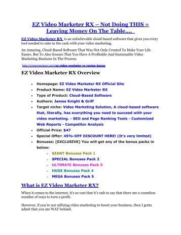 EZ Video Marketer RX review-(SHOCKED) $21700 bonuses