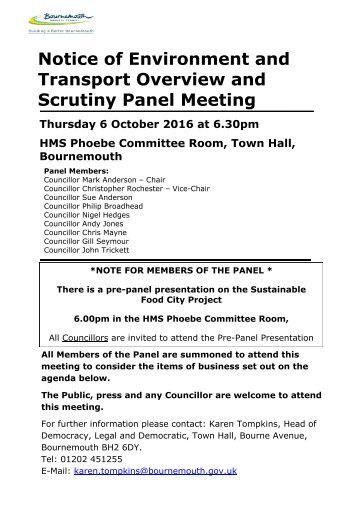 Notice of Environment and Transport Overview and Scrutiny Panel Meeting