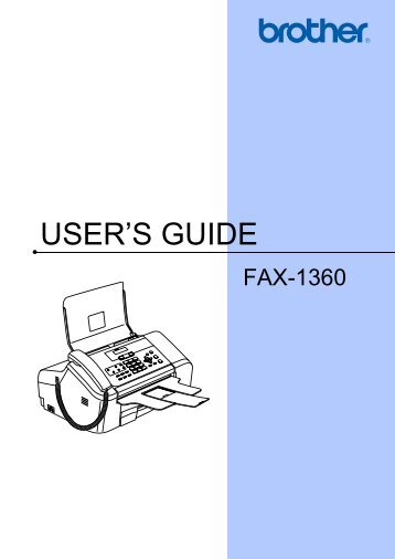 Brother FAX-1360 - User's Guide
