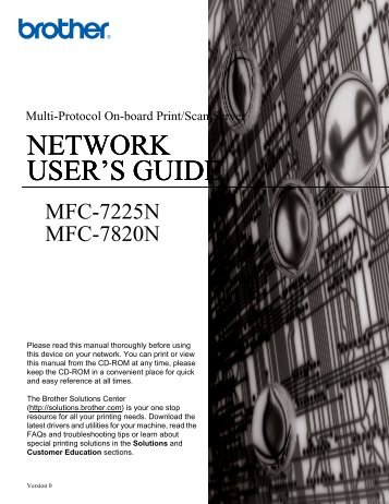 Brother MFC-7820N - Network User's Guide