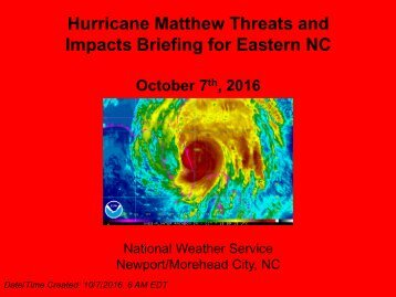 Hurricane Matthew Threats and Impacts Briefing for Eastern NC