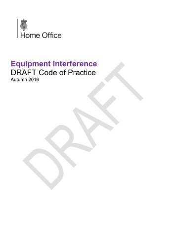 Equipment Interference DRAFT Code of Practice
