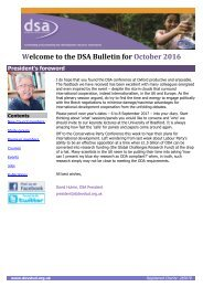 Welcome to the DSA Bulletin for October 2016