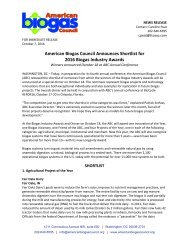 American Biogas Council Announces Shortlist for 2016 Biogas Industry Awards