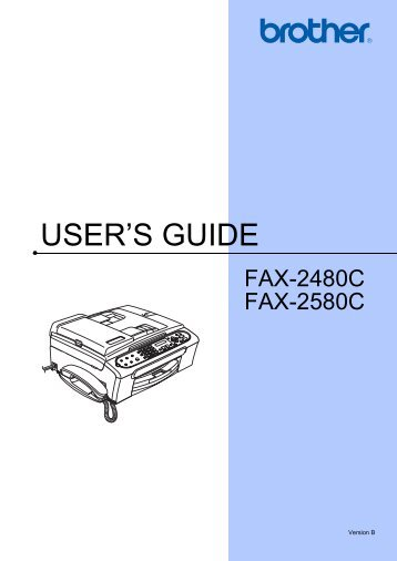 Brother FAX-2480C - User's Guide