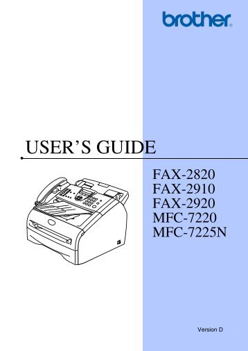 Brother FAX-2920 - User's Guide