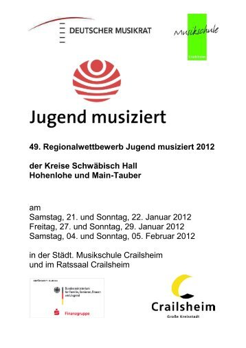 49. Regionalwettbewerb Jugend musiziert 2012 der Kreise ...