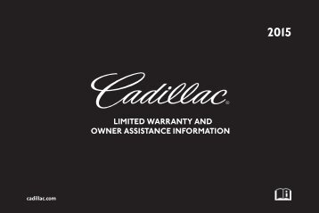 Cadillac 2015 XTS SEDAN - Limited Warranty Brochure