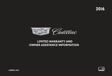 Cadillac 2016 XTS SEDAN - LIMITED WARRANTY BROCHURE