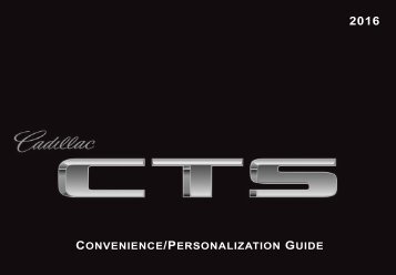 Cadillac 2016 CTS-V SEDAN - PERSONALIZATION GUIDE