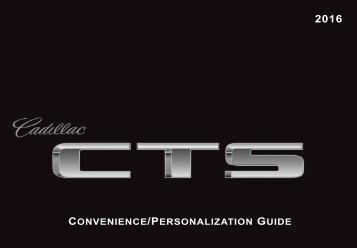 Cadillac 2016 CTS-V SEDAN - PERSONALIZATION GUIDE