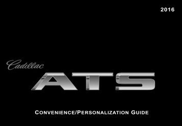 Cadillac 2016 ATS-V SEDAN - PERSONALIZATION GUIDE