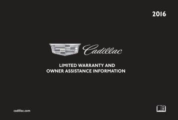 Cadillac 2016 SRX - LIMITED WARRANTY BROCHURE