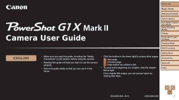 Canon PowerShot G1 X Mark II - PowerShot G1 X Mark II Camera User Guide