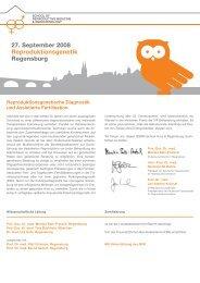 27. September 2008 Reproduktionsgenetik Regensburg