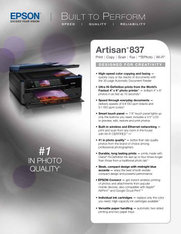 Epson Epson Artisan 837 All-in-One Printer - Product Brochure