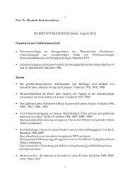 SCHRIFTENVERZEICHNIS (Stand: August 2012) - Elisabeth Beck ...