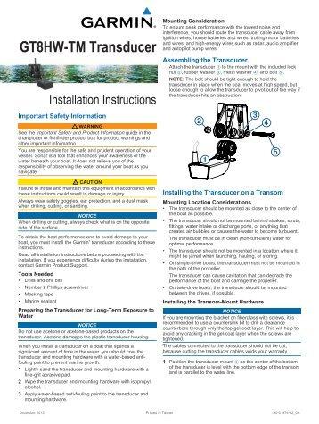 Garmin Garmin GT8HW-TM Plastic, Transom/Trolling Motor Mount, High Wide CHIRP, 250W (8-pin) - Installation Instructions