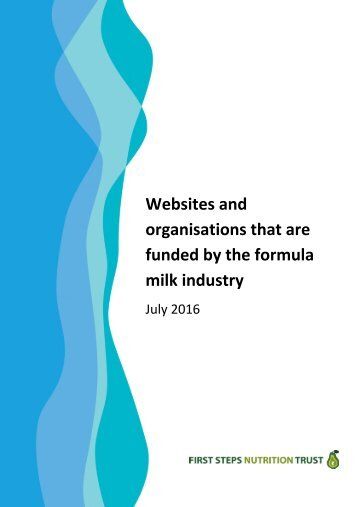 Websites and organisations that are funded by the formula milk industry