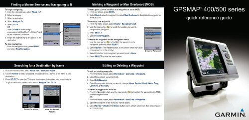 Garmin GPSMAP 545/545s - Quick Reference Guide on