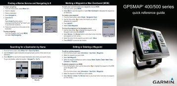 Garmin GPSMap 540s,No Xdcr - Quick Reference Guide