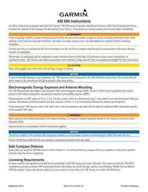 Garmin AIS™ 600 Blackbox Transceiver Manual and user guide