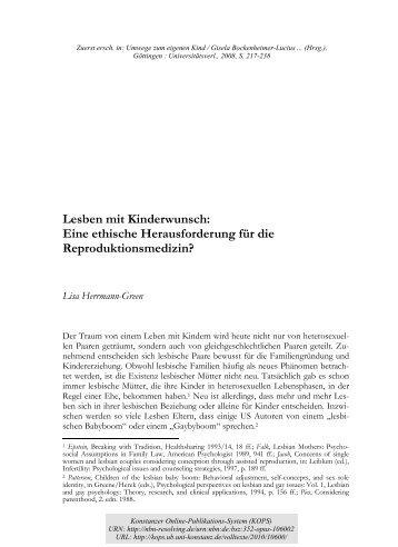Lesben mit Kinderwunsch : eine ethische Herausforderung ... - KOPS