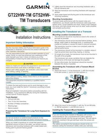 Garmin Garmin GT52HW-TM - Transom or Trolling Motor Mount High Wide CHIRP/DownVü/SideVü - Installation Instructions