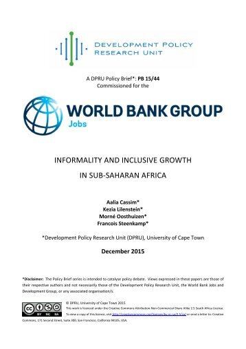 INFORMALITY AND INCLUSIVE GROWTH IN SUB-SAHARAN AFRICA