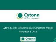 Cytonn Kenya's Listed Insurance Companies Analysis November 2 2015
