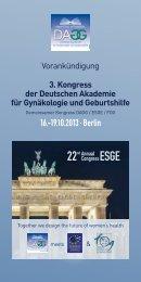 3. Kongress der Deutschen Akademie für Gynäkologie und ... - DGGG