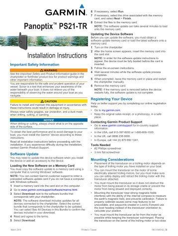 Garmin Panoptix™ PS21-TR Forward Trolling Motor Mount Transducer - Installation Instructions