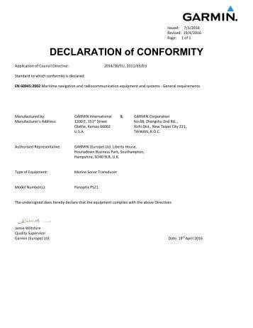 Garmin Panoptix™ PS21-TR Forward Trolling Motor Mount Transducer - Declaration of Conformity