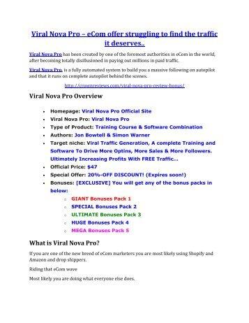 Viral Nova Pro review-$26,800 bonus & discount