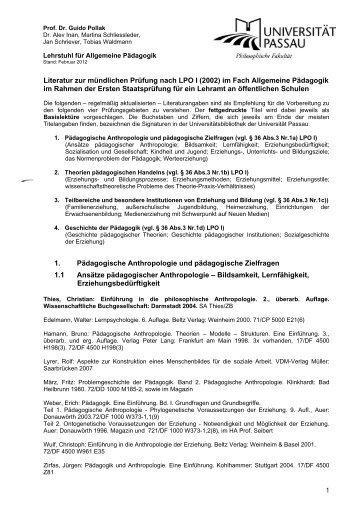 1 Literatur zur mündlichen Prüfung nach LPO I - Universität Passau