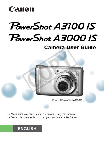 Canon powershot a3000is user manual.