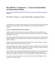 BUS 508 WK 3 Assignment 1 Corporate Responsibility and Marketing Strategies
